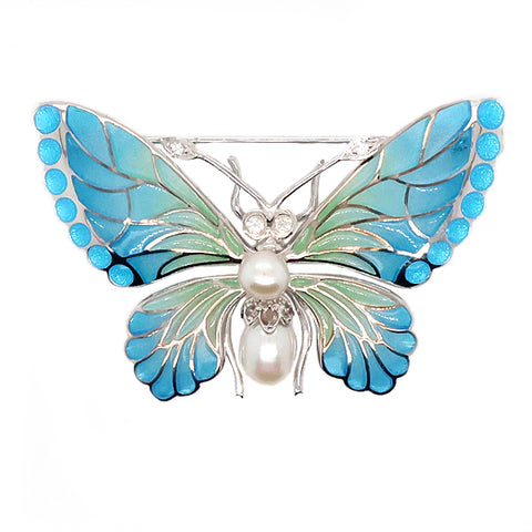 Butterfly brooch with freshwater pearl, white sapphire and enamel in silver