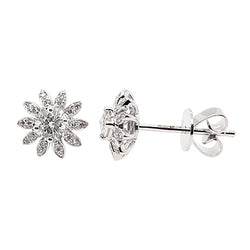 Diamond floral cluster earrings in 18ct white gold, 0.28ct