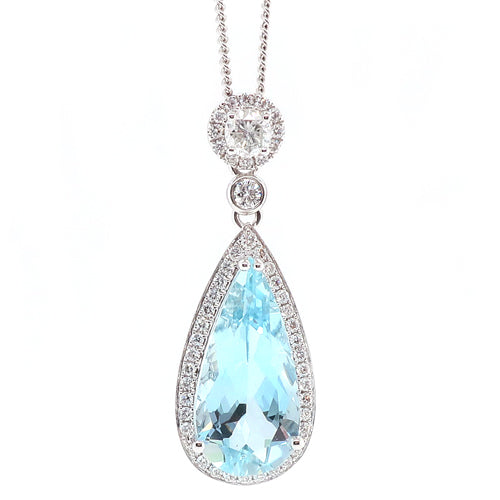 Aquamarine and diamond cluster pendant and chain in 18ct white gold