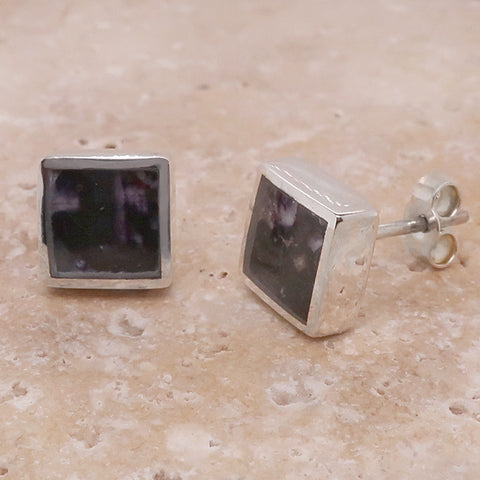 Blue John square stud earrings in silver