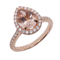Morganite and diamond pear shape halo cluster ring in 18ct rose gold
