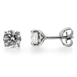 Diamond solitaire earrings in platinum, 1.63ct