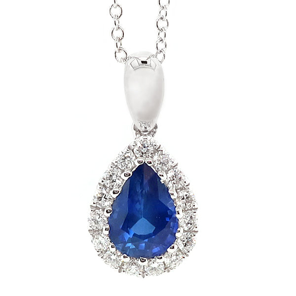 Sapphire and diamond cluster pendant and chain in 18ct white gold