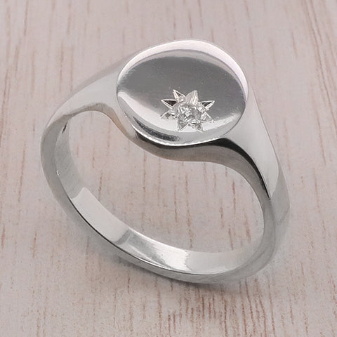 Diamond set oval signet ring in silver
