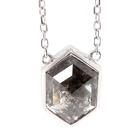 Hexagonal rose cut diamond solitaire necklace in 18ct white gold, 1.26ct