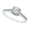 Diamond halo cluster ring with diamond set shoulders in 18ct white gold, 0.56ct