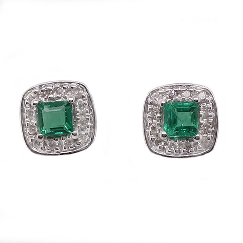 Emerald and diamond cluster earrings in 9ct white gold