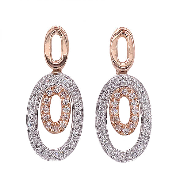 Diamond oval drop earrings in 18ct rose and white gold, 0.16ct