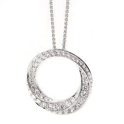 Diamond circle pendant and chain in 18ct white gold, 0.88ct