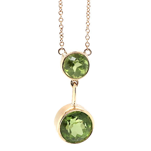 Peridot double drop necklace in 9ct gold