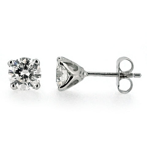 Brilliant cut diamond solitaire earrings in platinum, 2.00ct