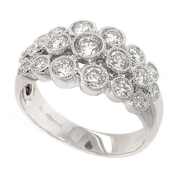 Diamond three row 'bubble' ring in platinum, 0.90ct