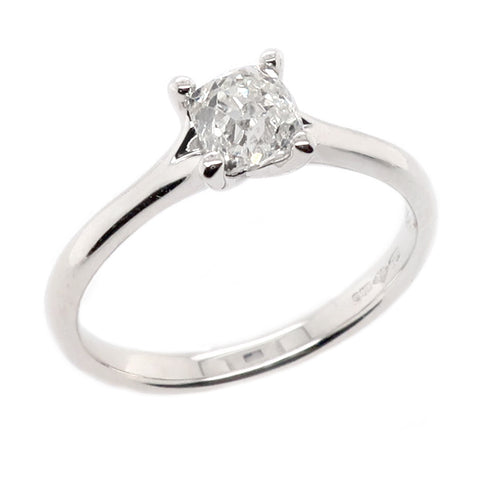 Old cut diamond solitaire ring in platinum, 0.70ct