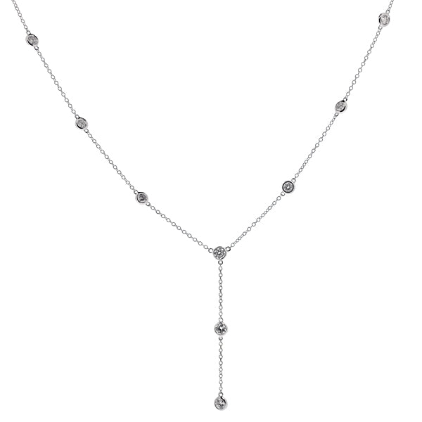 Diamond dropper necklace in 18ct white gold, 1.08ct