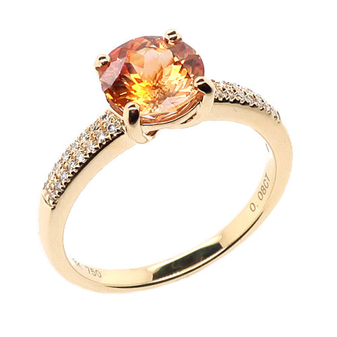 Orange sapphire and diamond ring in 18ct gold