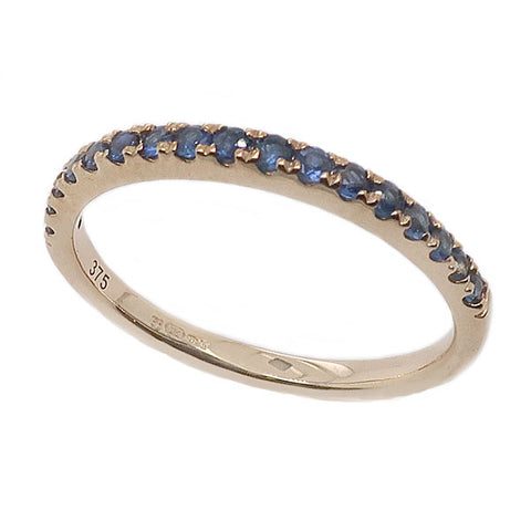 Sapphire half eternity ring in 9ct gold