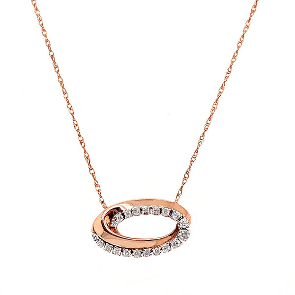 Diamond oval swirl necklace in 9ct rose gold, 0.15ct
