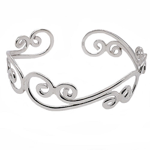 Open swirl detail cuff bangle in silver