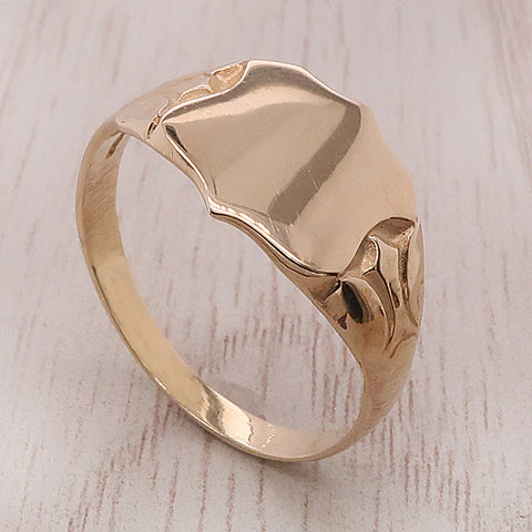Fancy shape signet ring in 9ct gold