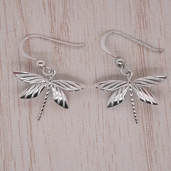 Dragonfly drop earrings in silver