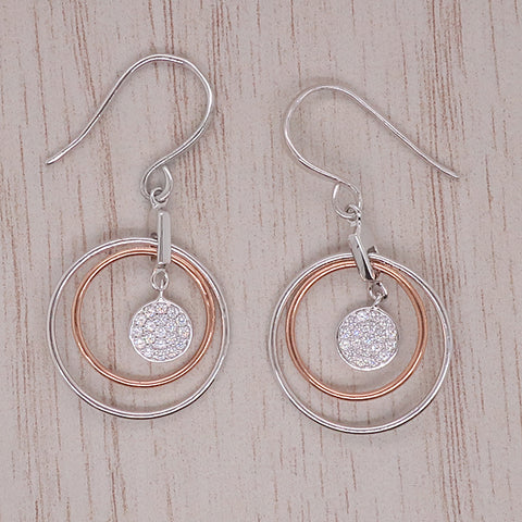 Cubic zirconia circle earrings in silver with rose gold plating