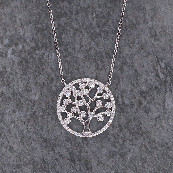 Cubic zirconia tree of life necklace in silver