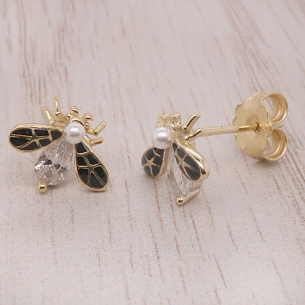 Cubic zirconia, freshwater pearl and enamel bee earrings in silver with gold plating