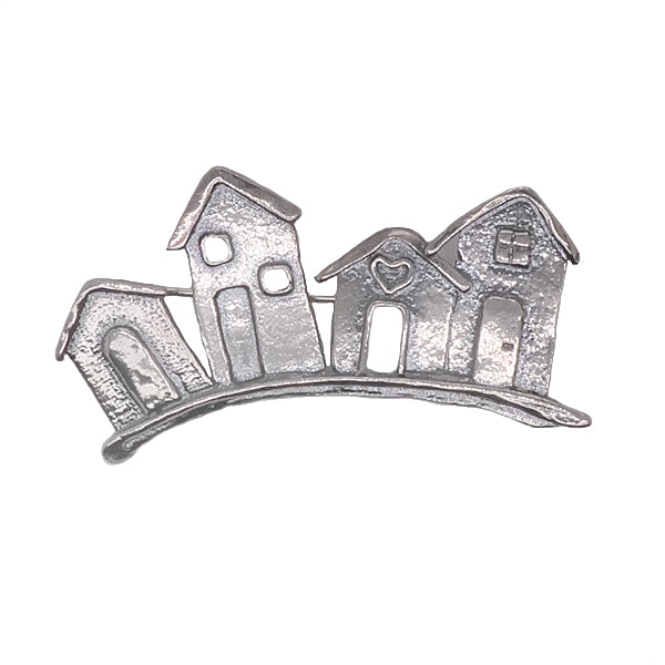 Stylised row of houses brooch in silver