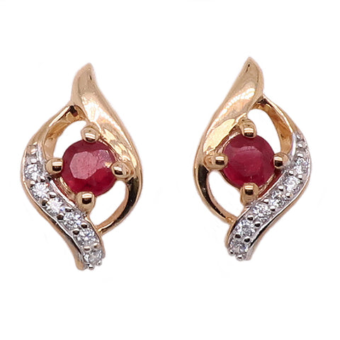 Treated ruby and diamond earrings in 9ct gold