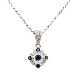 Sapphire and diamond cluster pendant and chain in 9ct white gold