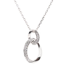 Diamond double oval drop pendant and chain in 18ct white gold, 0.15ct