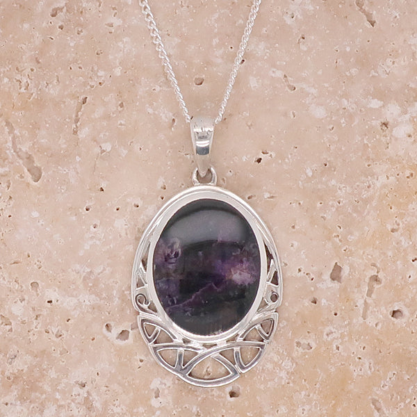 Blue John pendant and chain in silver