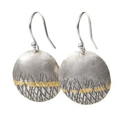 Textured drop earrings in oxidised silver with gold