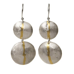Statement textured drop earrings in silver with gold