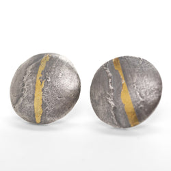 Textured dome stud earrings in silver with gold