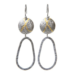 Statement drop earrings in oxidised silver with gold