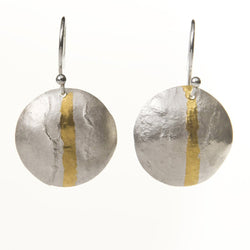 Textured disc drop earrings in silver with gold