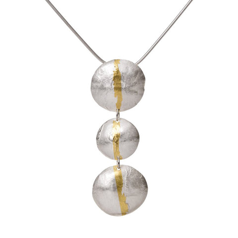 Triple drop disc pendant and chain in silver with gold
