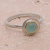 Green chalcedony solitaire ring in silver with gold