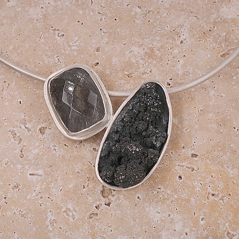 Rutilated quartz abstract necklace in silver