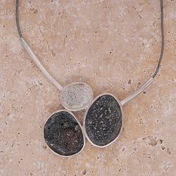 Abstract design necklace in oxidised silver