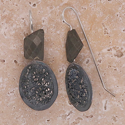Pyrite and granulated silver drop earrings in silver