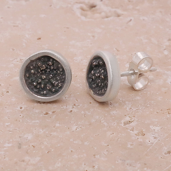 Abstract stud earrings in oxidised silver