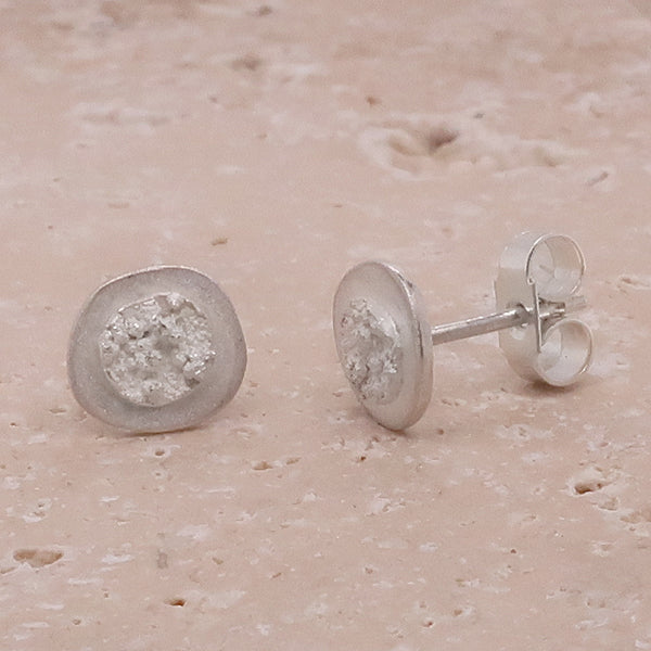 Abstract small stud earrings in silver