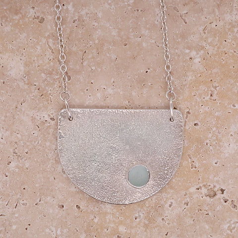 Aqua sea glass necklace in silver