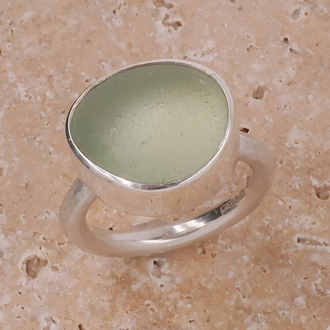 Pale green sea glass dress ring in silver