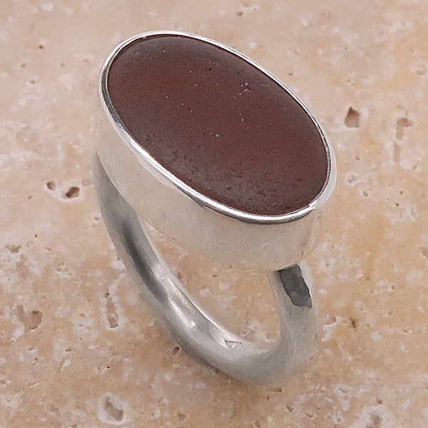 Deep amber colour sea glass ring in silver