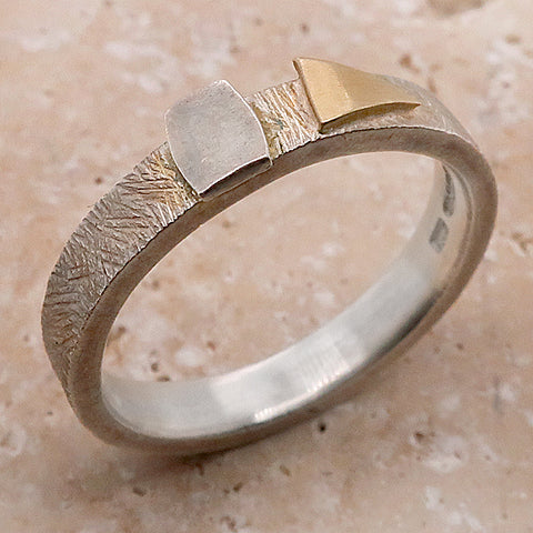 Abstract shapes ring in silver with gold