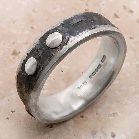 Dot detail ring in silver and steel