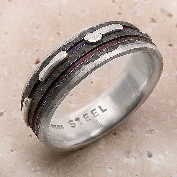 Purple groove and texture band in silver and steel